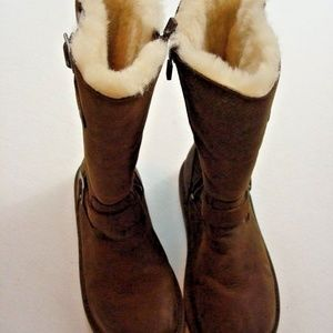 UGG Boots Womens Size 5 Brown Buckles Side Zipper